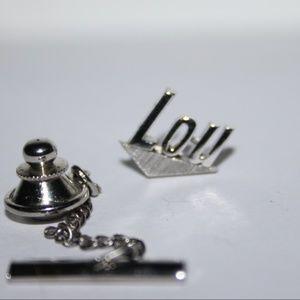 Silver LOU SWANK tie pin